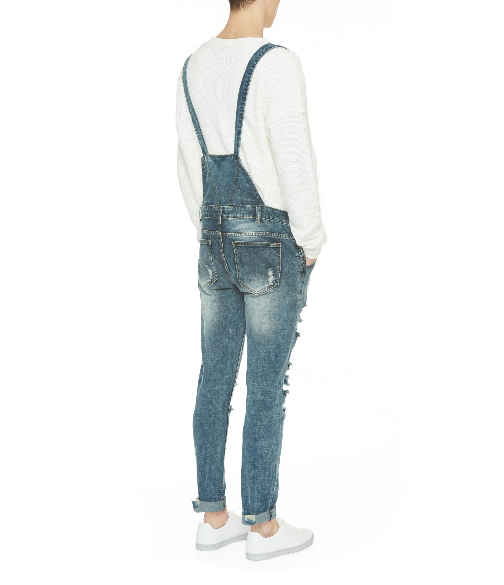 JN181 Distressed Stone Wash Dungaree Denim - Mid Blue - underated london - underatedco - 10