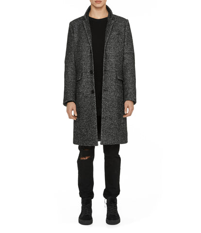 JK212 Mélange Wool Blend Overcoat - Black - underated london - underatedco - 1