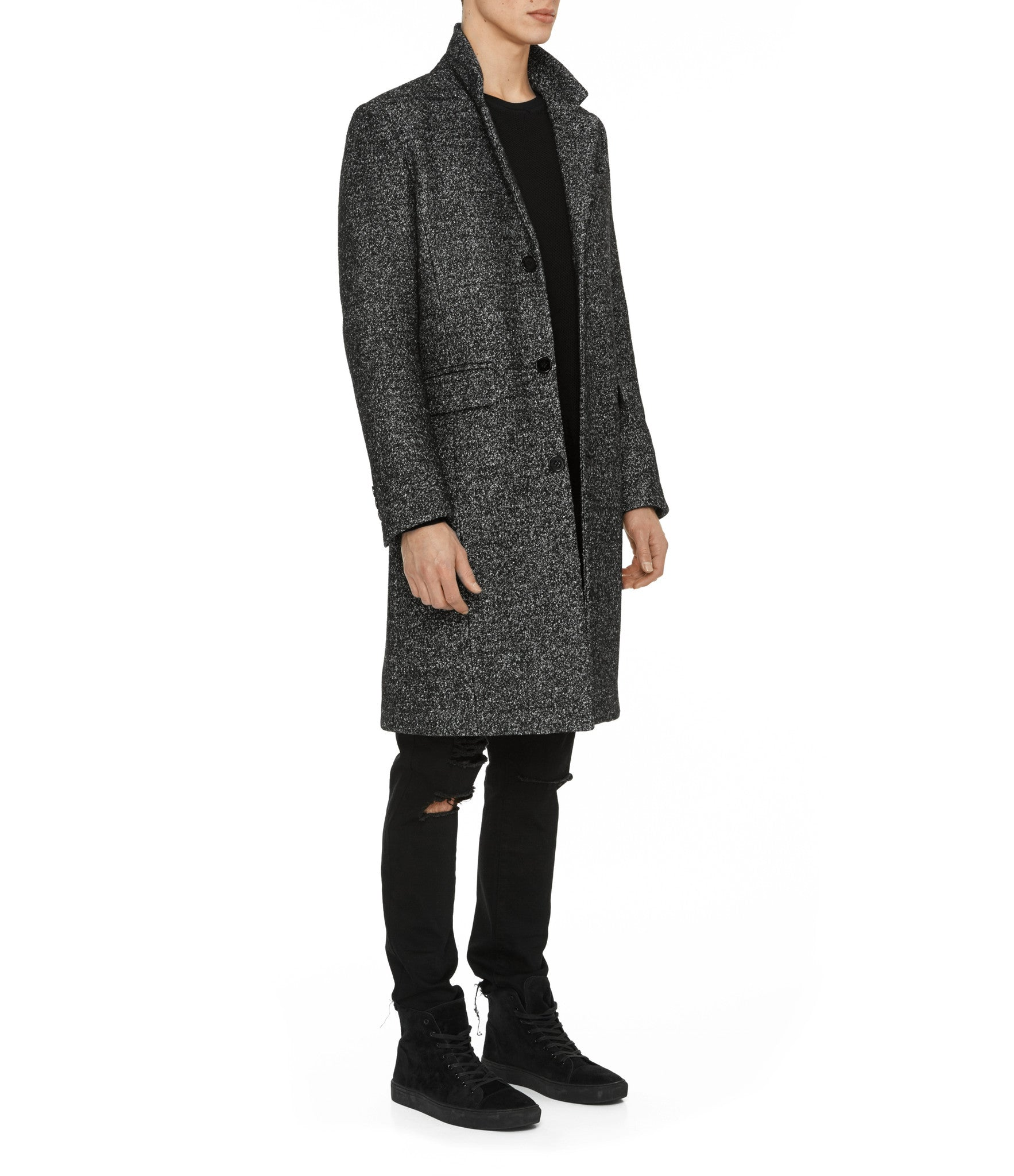 JK212 Mélange Wool Blend Overcoat - Black - underated london - underatedco - 6
