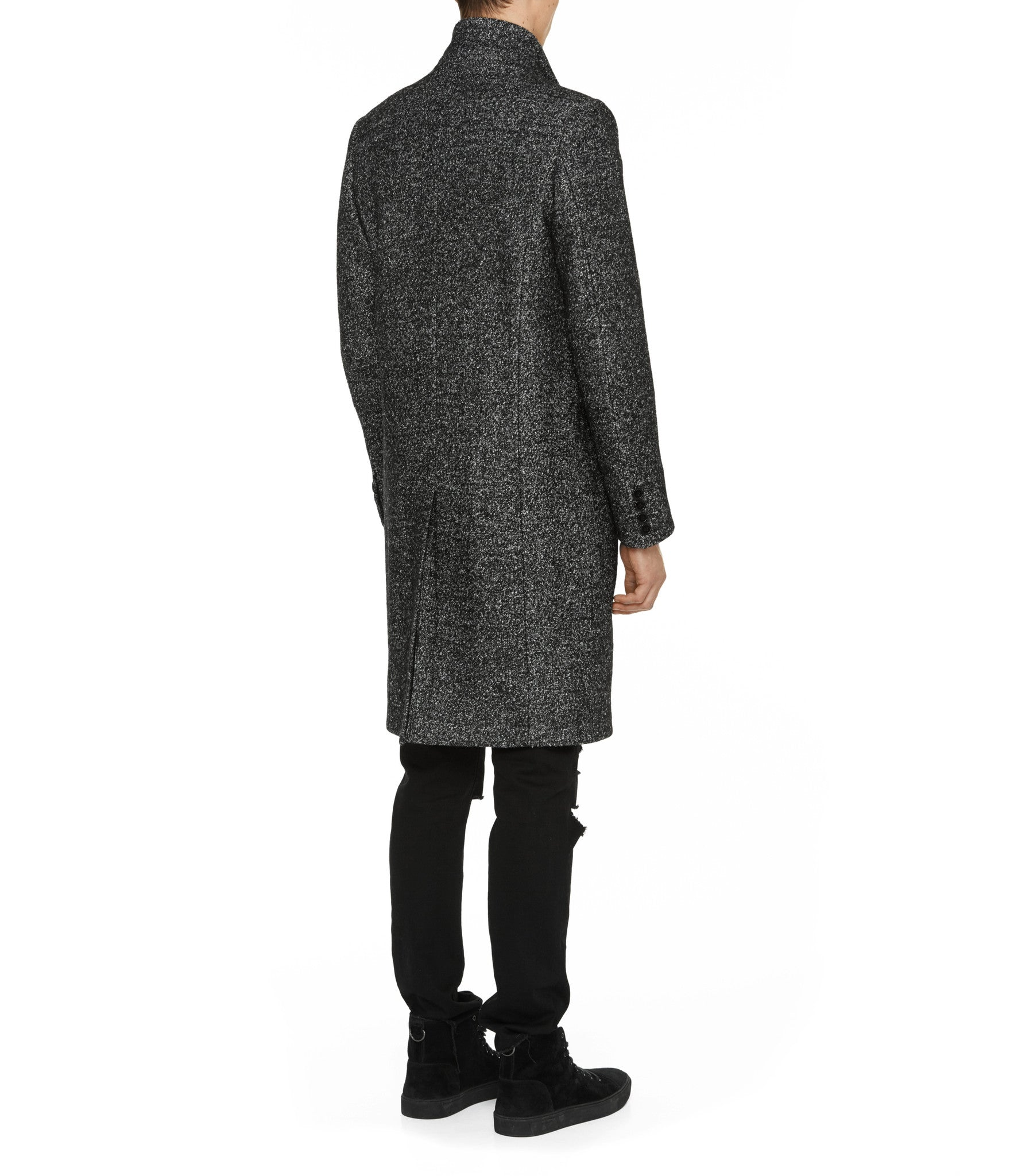 JK212 Mélange Wool Blend Overcoat - Black - underated london - underatedco - 7