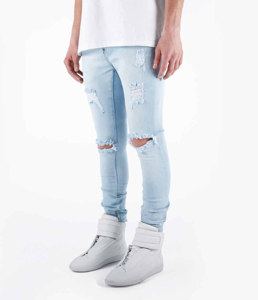 JN151 Distressed Stone Wash Denim - Light Blue - UNDERATED