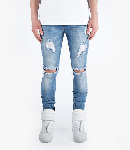 JN151 Distressed Stone Wash Denim - Mid Blue - UNDERATED