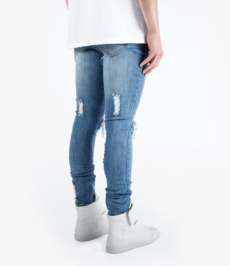 JN151 Distressed Stone Wash Denim - Mid Blue