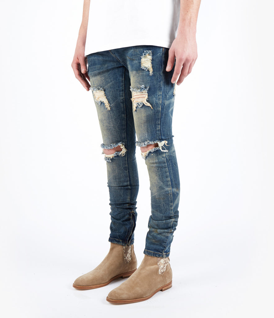 JN151 Distressed Dirty Wash Denim - Mid Blue - UNDERATED