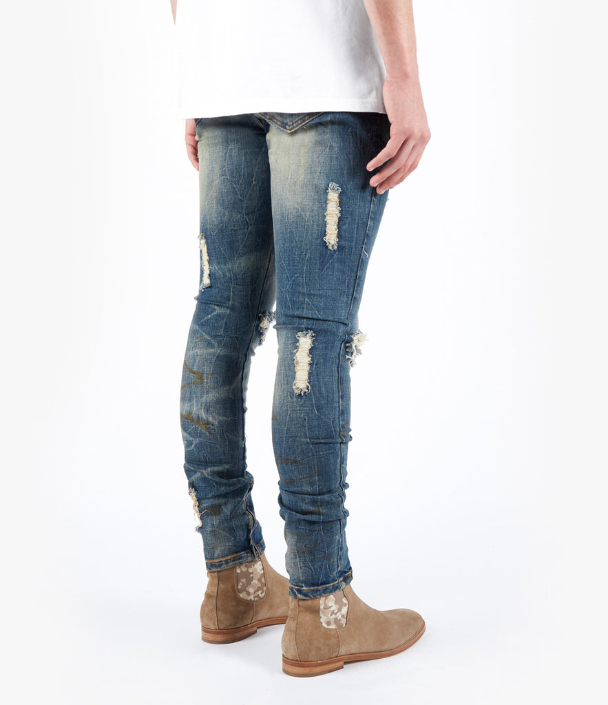 JN151 Distressed Dirty Wash Denim - Mid Blue