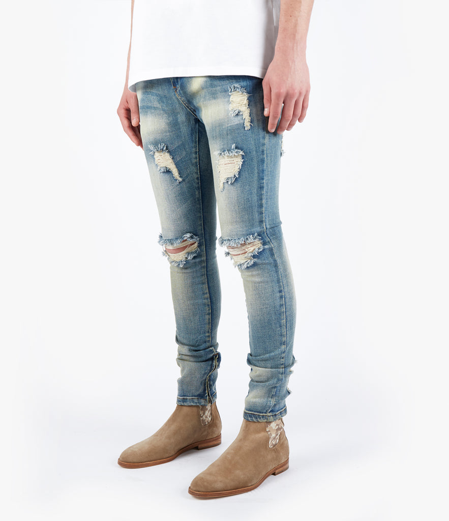 JN151 Distressed Earth Wash Denim - Light Blue - UNDERATED