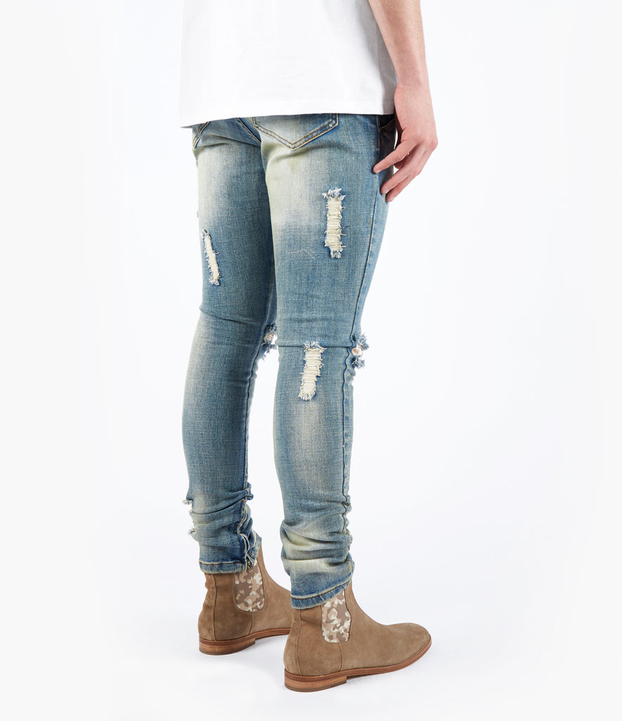 JN151 Distressed Earth Wash Denim - Light Blue