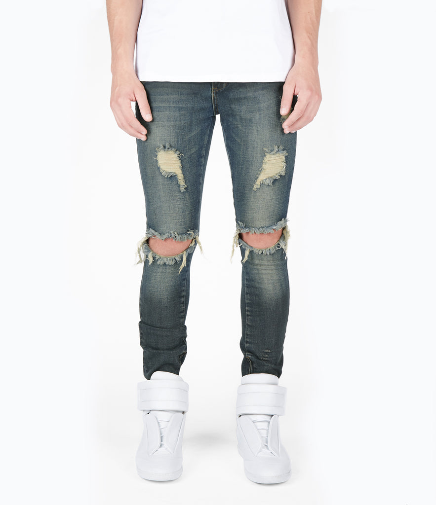 JN151 Distressed Sandblast Wash Denim - Deep Indigo