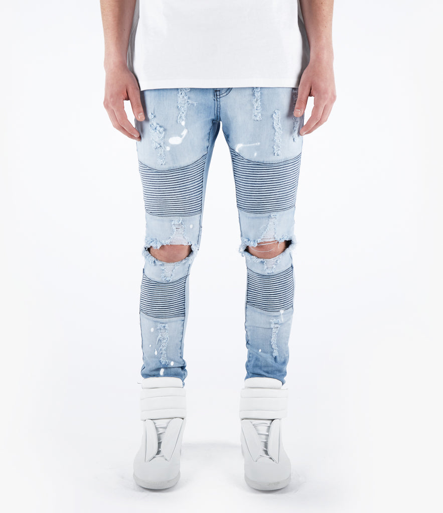JN152 Distressed Stone Wash Paint Splatter Biker Denim - Light Blue - UNDERATED