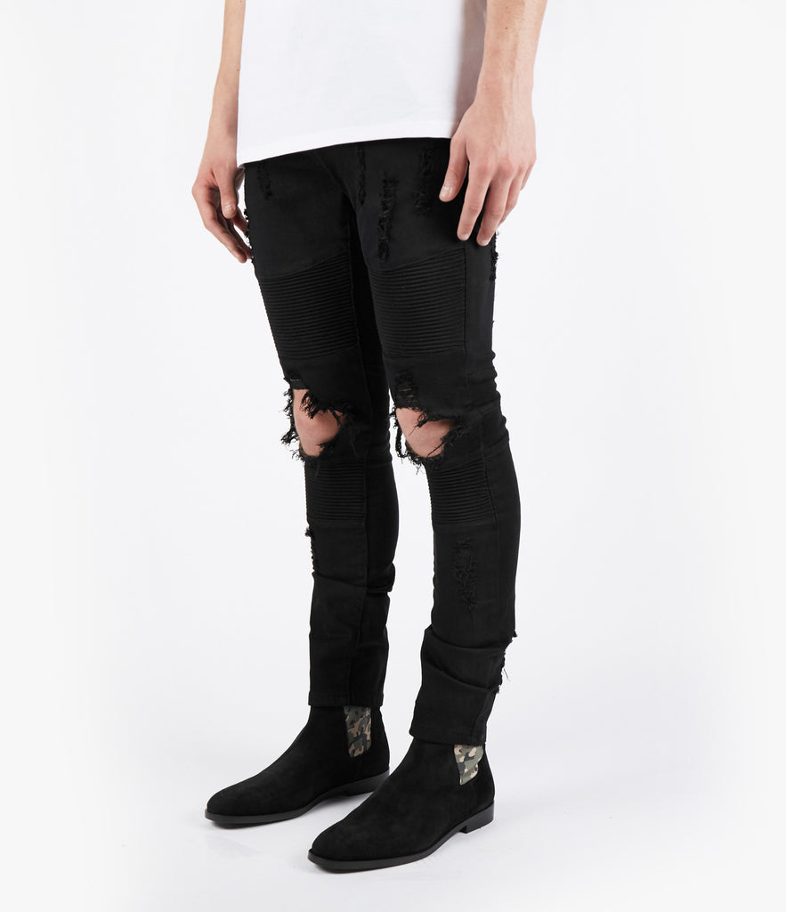 JN152 Distressed Biker Denim - Jet Black - UNDERATED