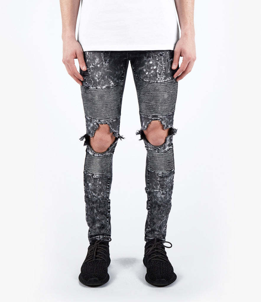 JN152 Distressed Acid Wash Biker Denim - Black - UNDERATED