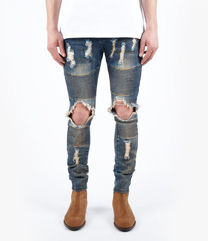 JN152 Distressed Dirty Wash Biker Denim - Mid Blue - UNDERATED