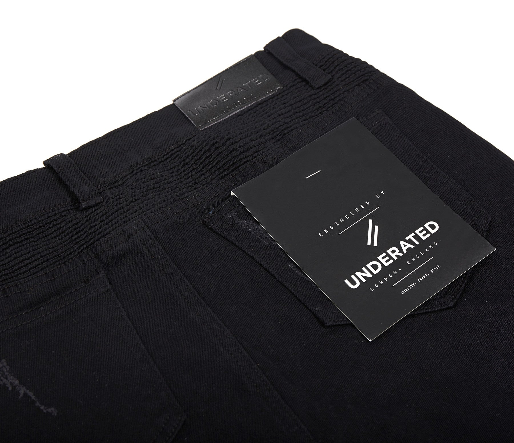 JN152 Distressed Biker Denim - Solid Black - underated london - underatedco - 11