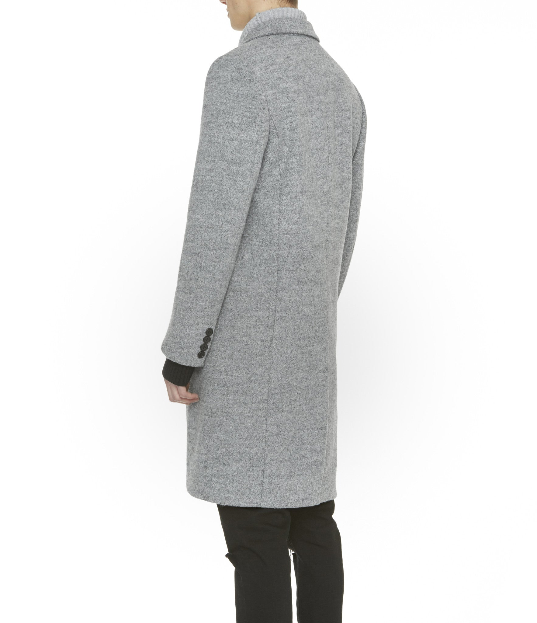 JK212 Mélange Wool Blend Overcoat - Grey - underated london - underatedco - 7