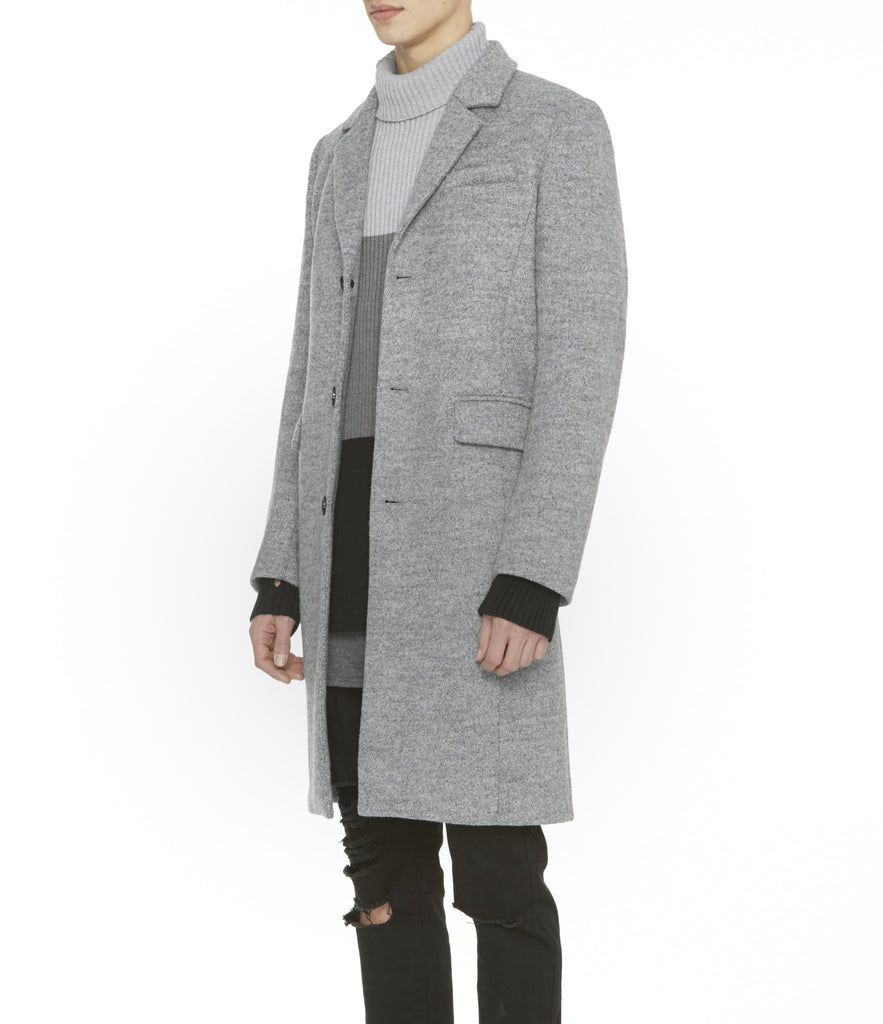JK212 Mélange Wool Blend Overcoat - Grey - UNDERATED