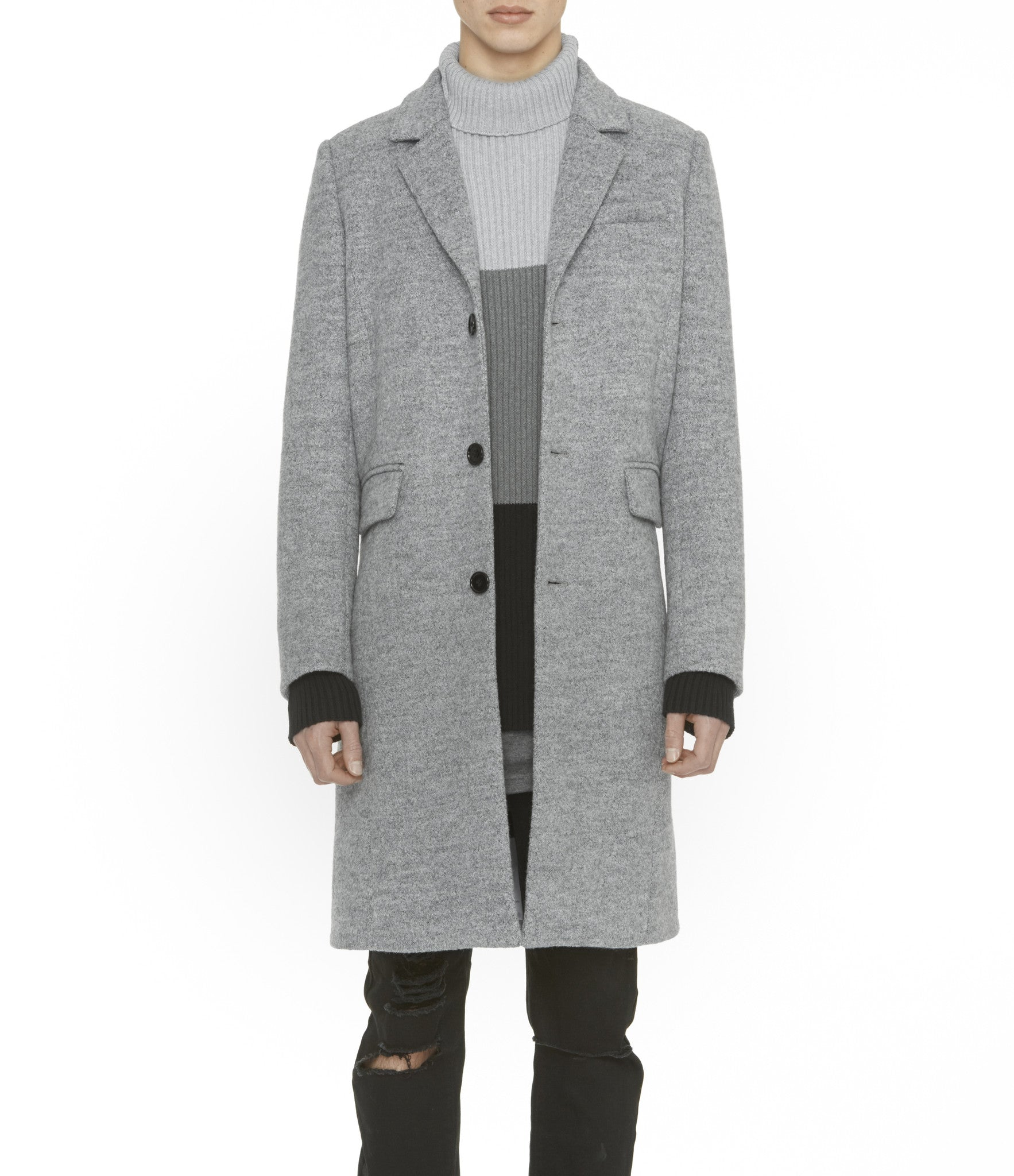 JK212 Mélange Wool Blend Overcoat - Grey - underated london - underatedco - 1