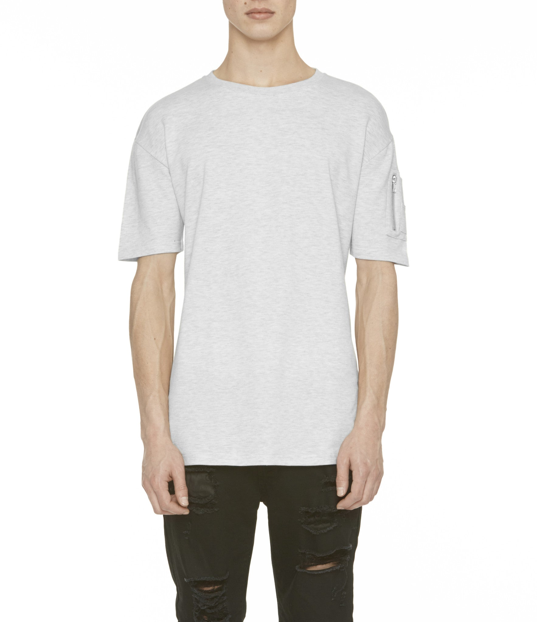 TS222 Drop Shoulder Utility Tee - Heather Grey - underated london - underatedco - 1