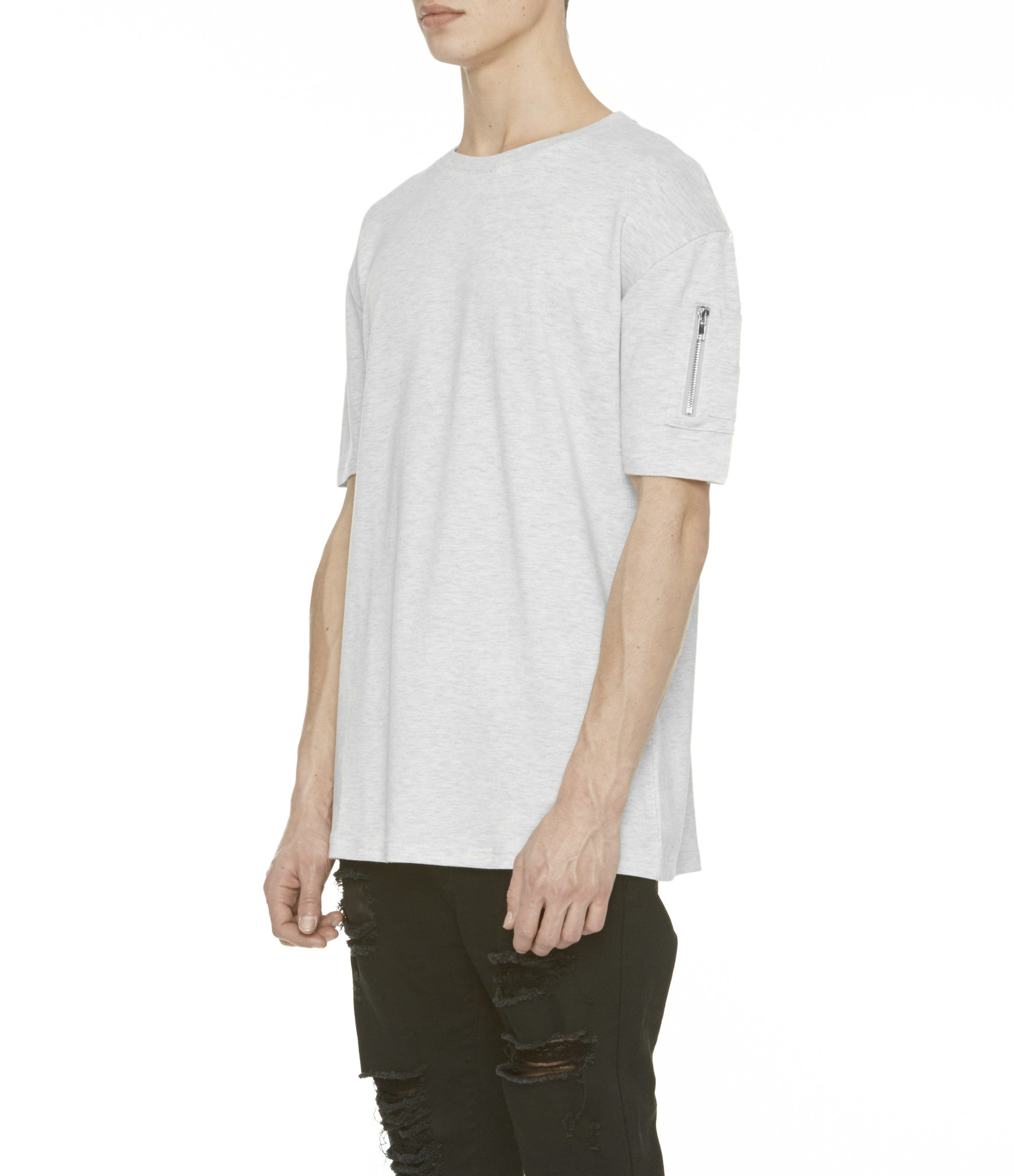 TS222 Drop Shoulder Utility Tee - Heather Grey - underated london - underatedco - 7