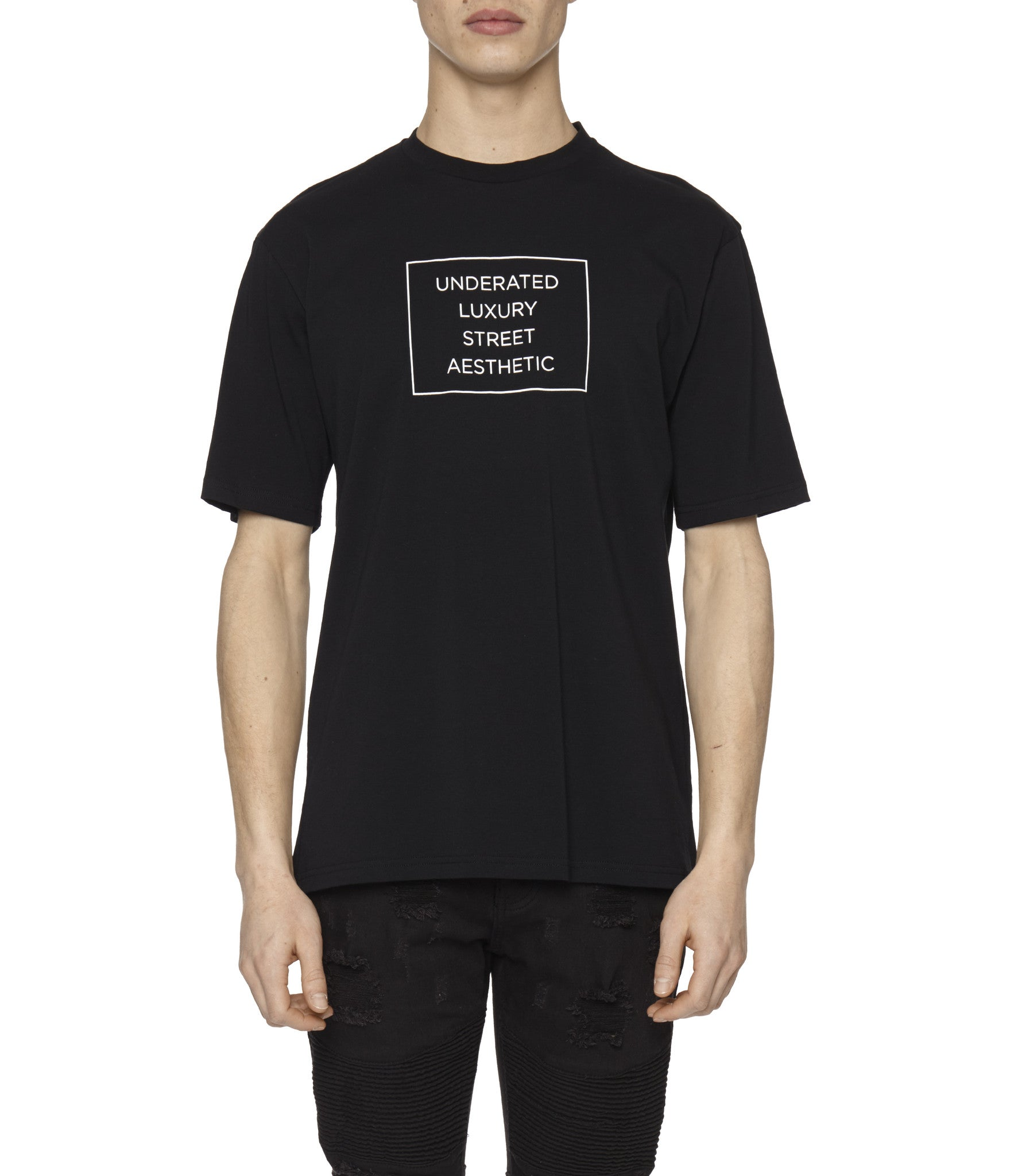 TS319 Box Logo Printed Tee - Black - underated london - underatedco - 4