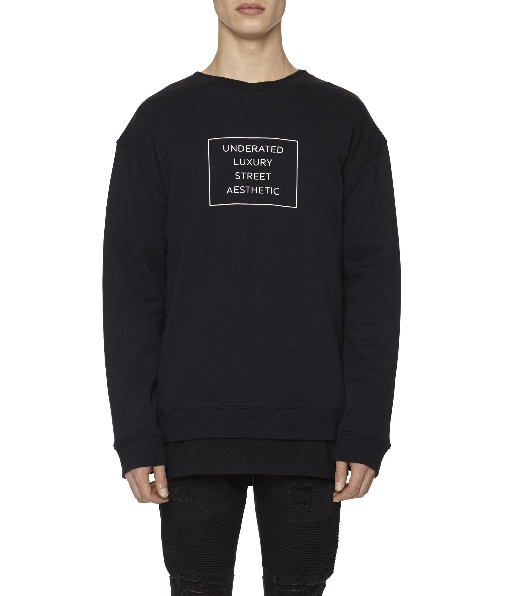 SW314 Box Logo Printed Sweatshirt - Black - underated london - underatedco - 4