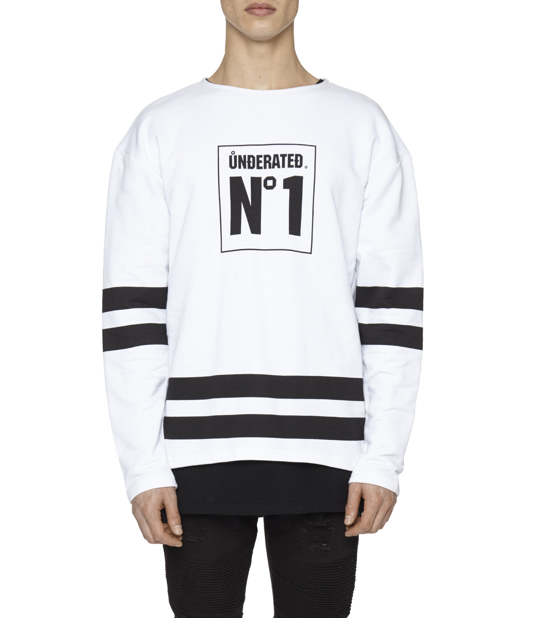 SW313 No.1 Printed Sweatshirt - White - underated london - underatedco - 5