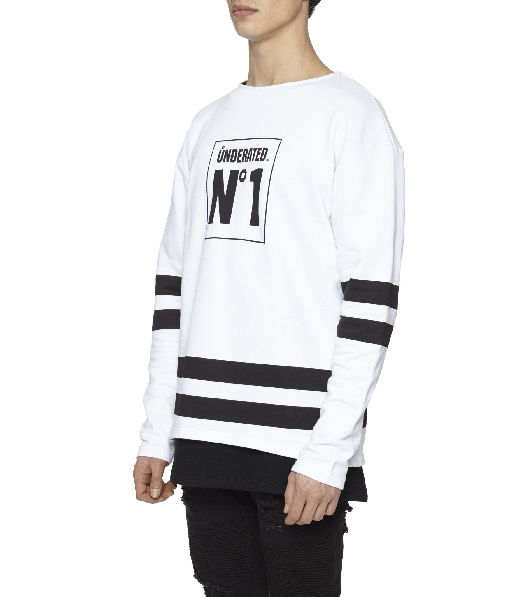 SW313 No.1 Printed Sweatshirt - White - underated london - underatedco - 6
