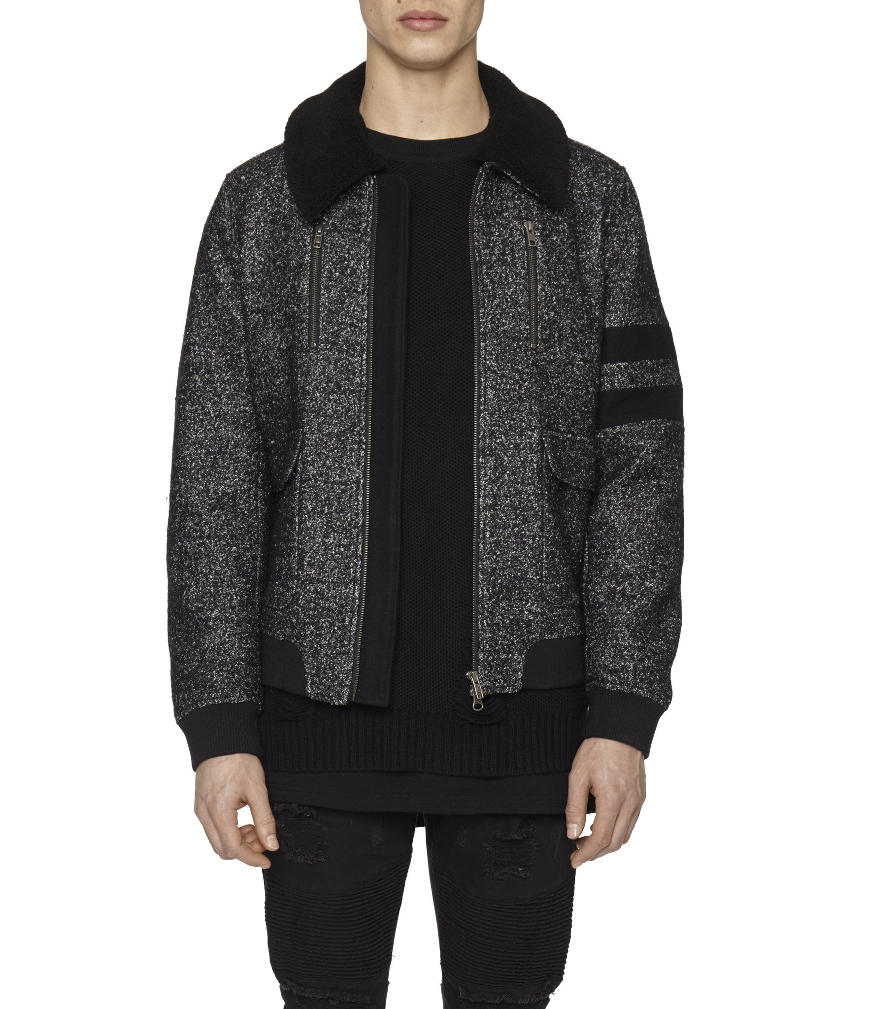 JK225 Shearling-Trimmed Mélange Wool Jacket - Black - underated london - underatedco - 1