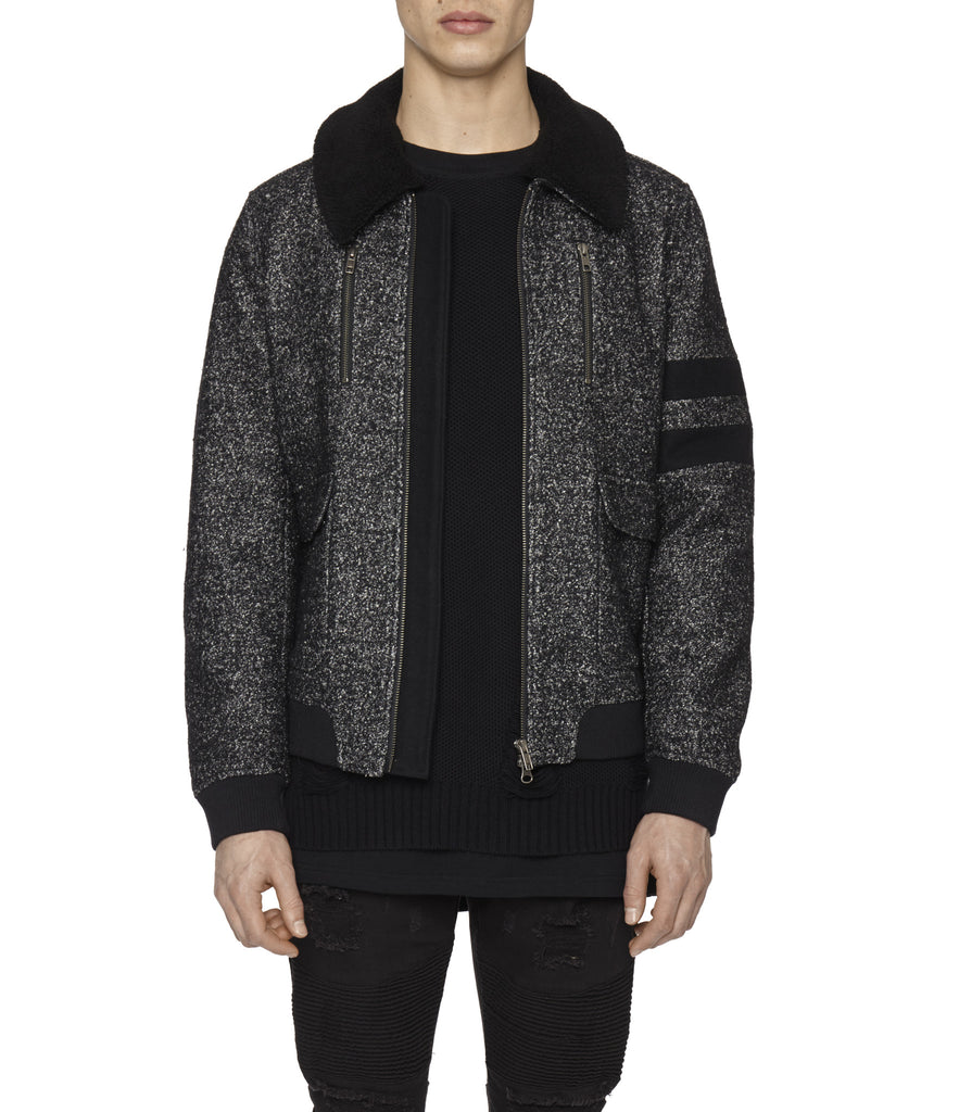 JK225 Shearling-Trimmed Mélange Wool Jacket - Black - UNDERATED