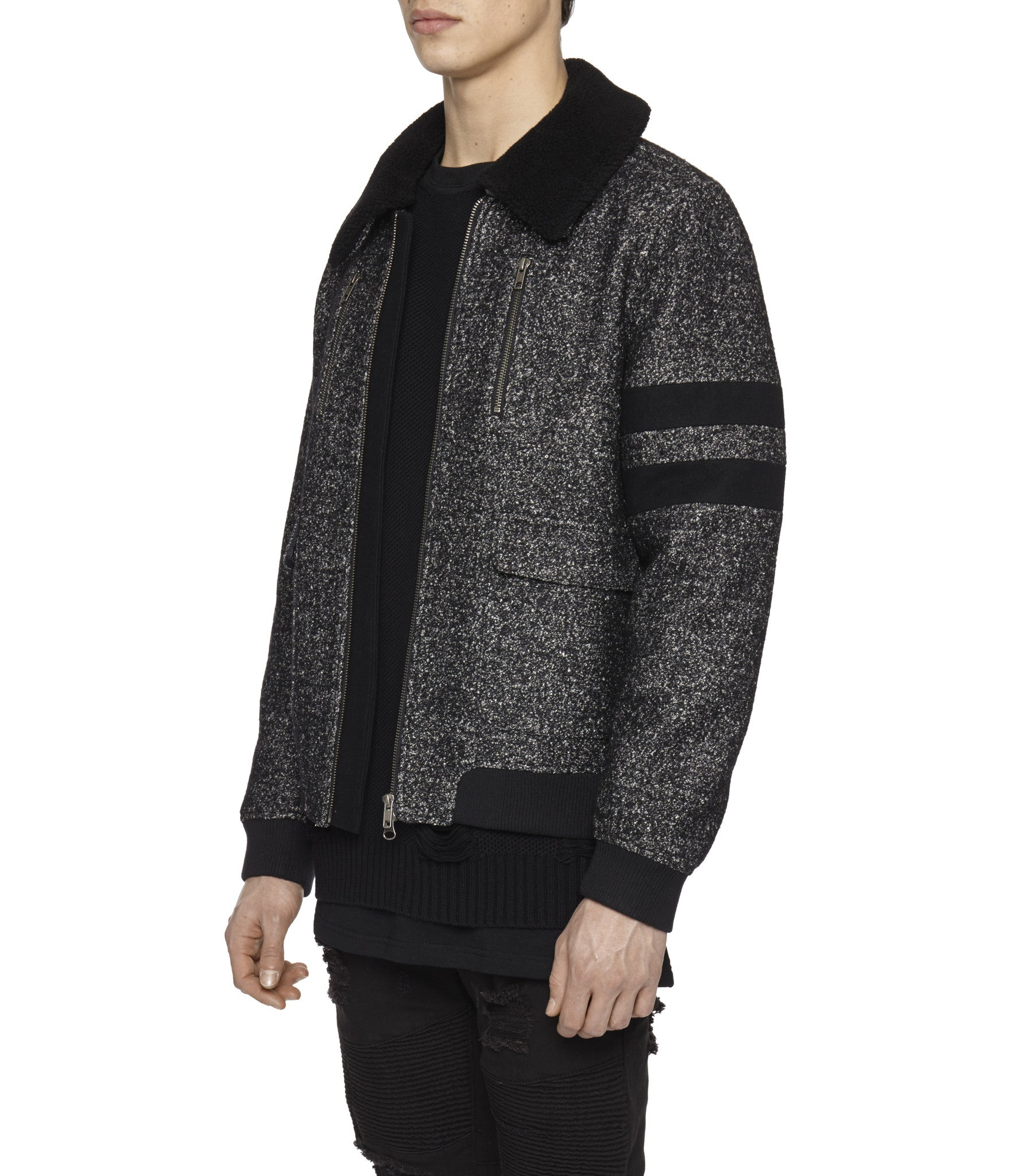 JK225 Shearling-Trimmed Mélange Wool Jacket - Black - underated london - underatedco - 6