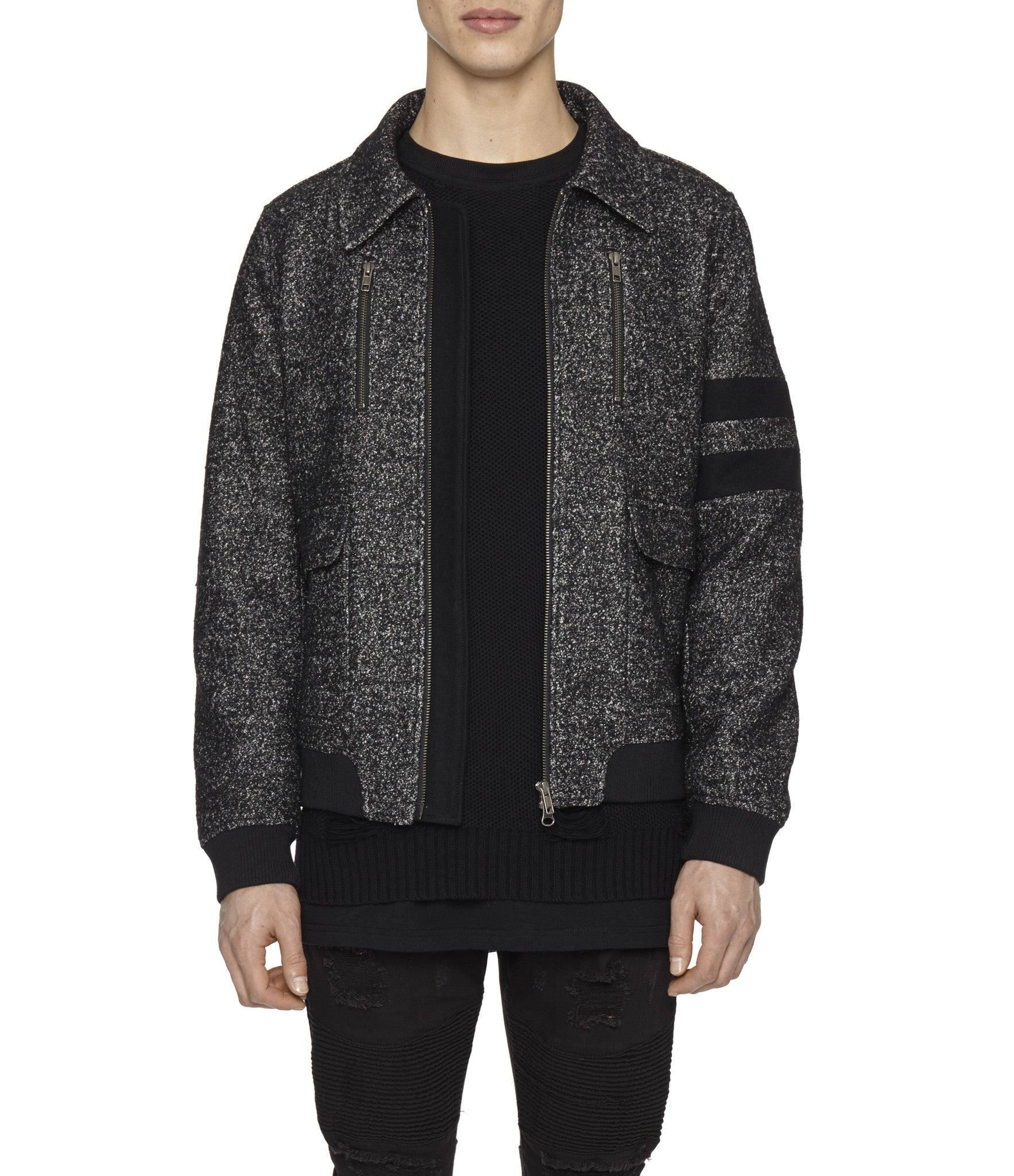 JK225 Shearling-Trimmed Mélange Wool Jacket - Black - underated london - underatedco - 8