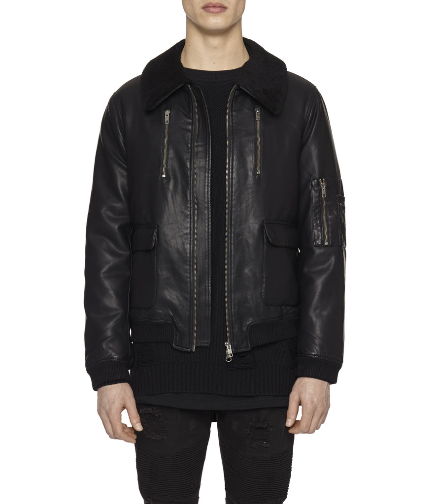 JK225 Shearling-Trimmed Leather Jacket - Black - UNDERATED