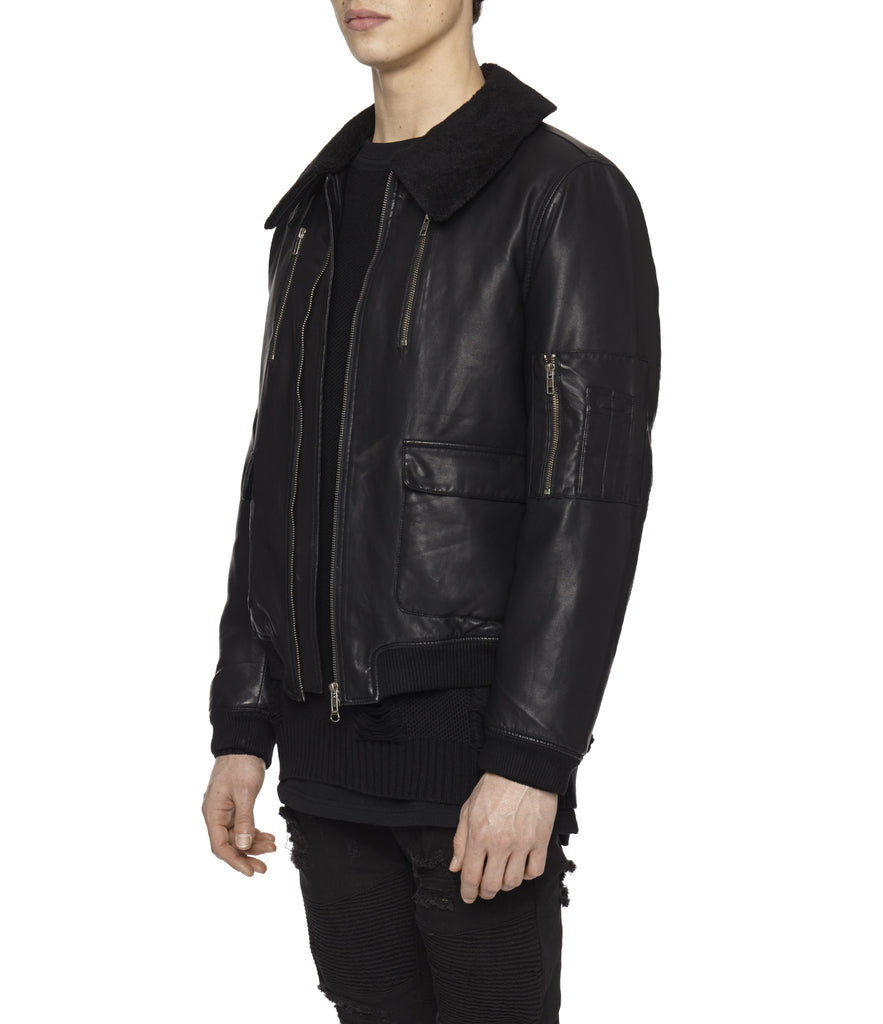 JK225 Shearling-Trimmed Leather Jacket - Black - underated london - underatedco - 6