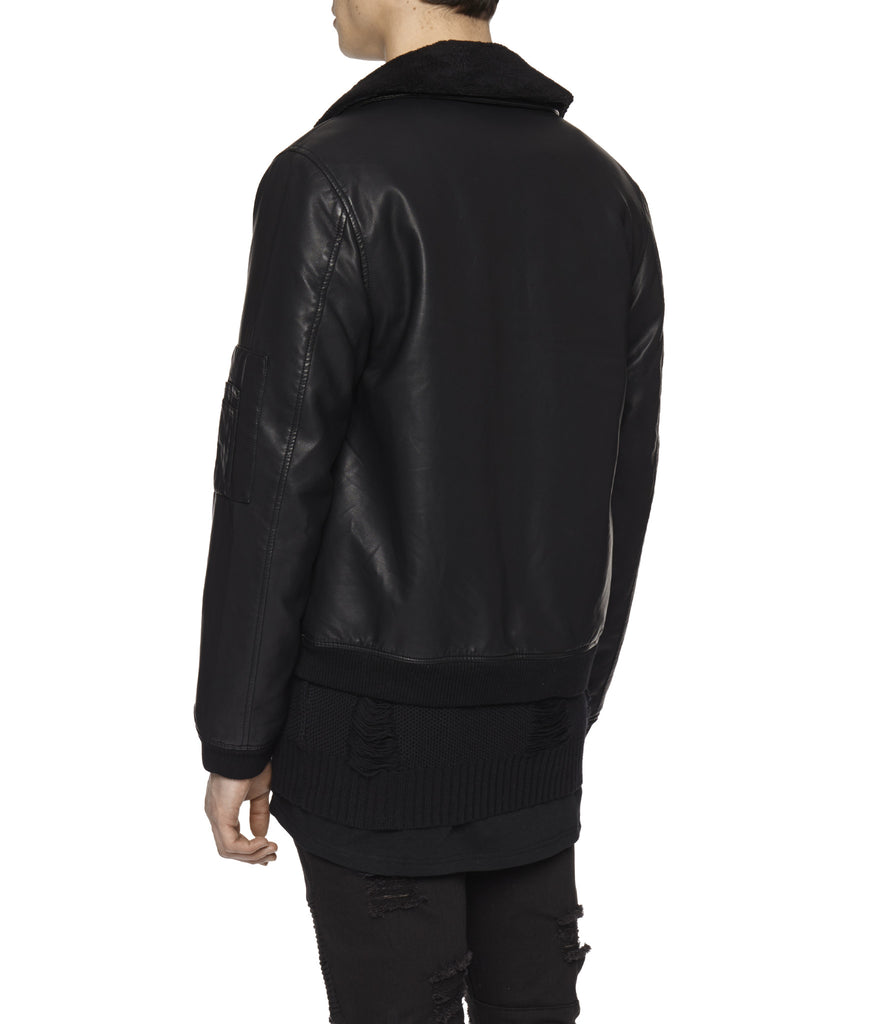 JK225 Shearling-Trimmed Leather Jacket - Black - underated london - underatedco - 7