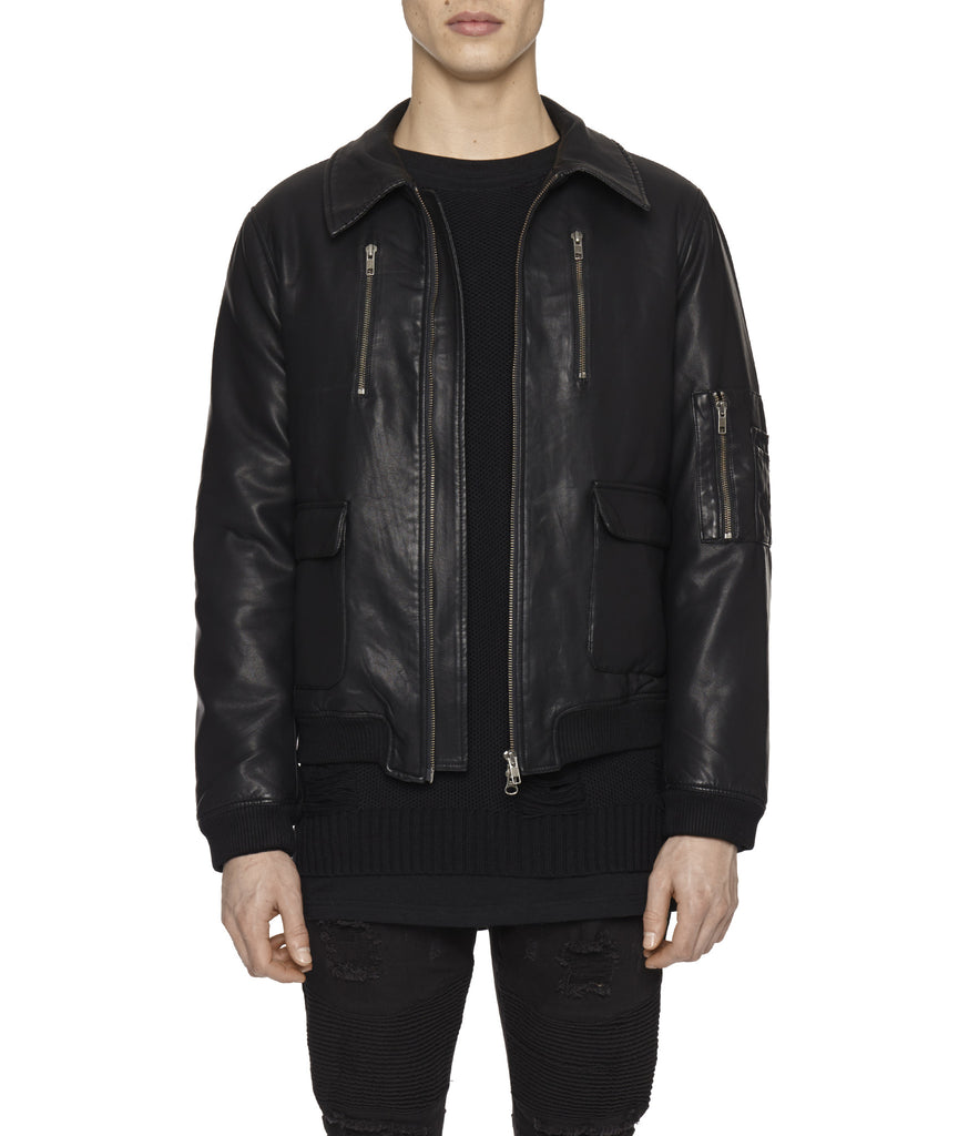 JK225 Shearling-Trimmed Leather Jacket - Black - underated london - underatedco - 8