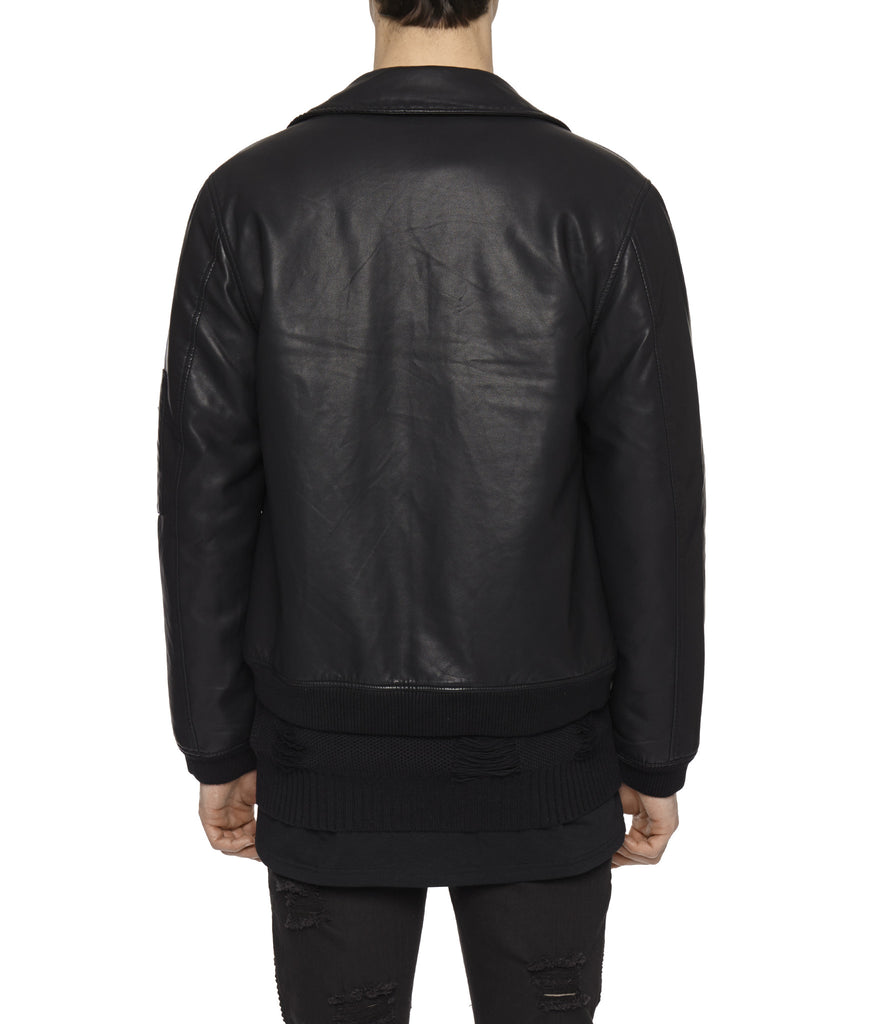 JK225 Shearling-Trimmed Leather Jacket - Black - underated london - underatedco - 9