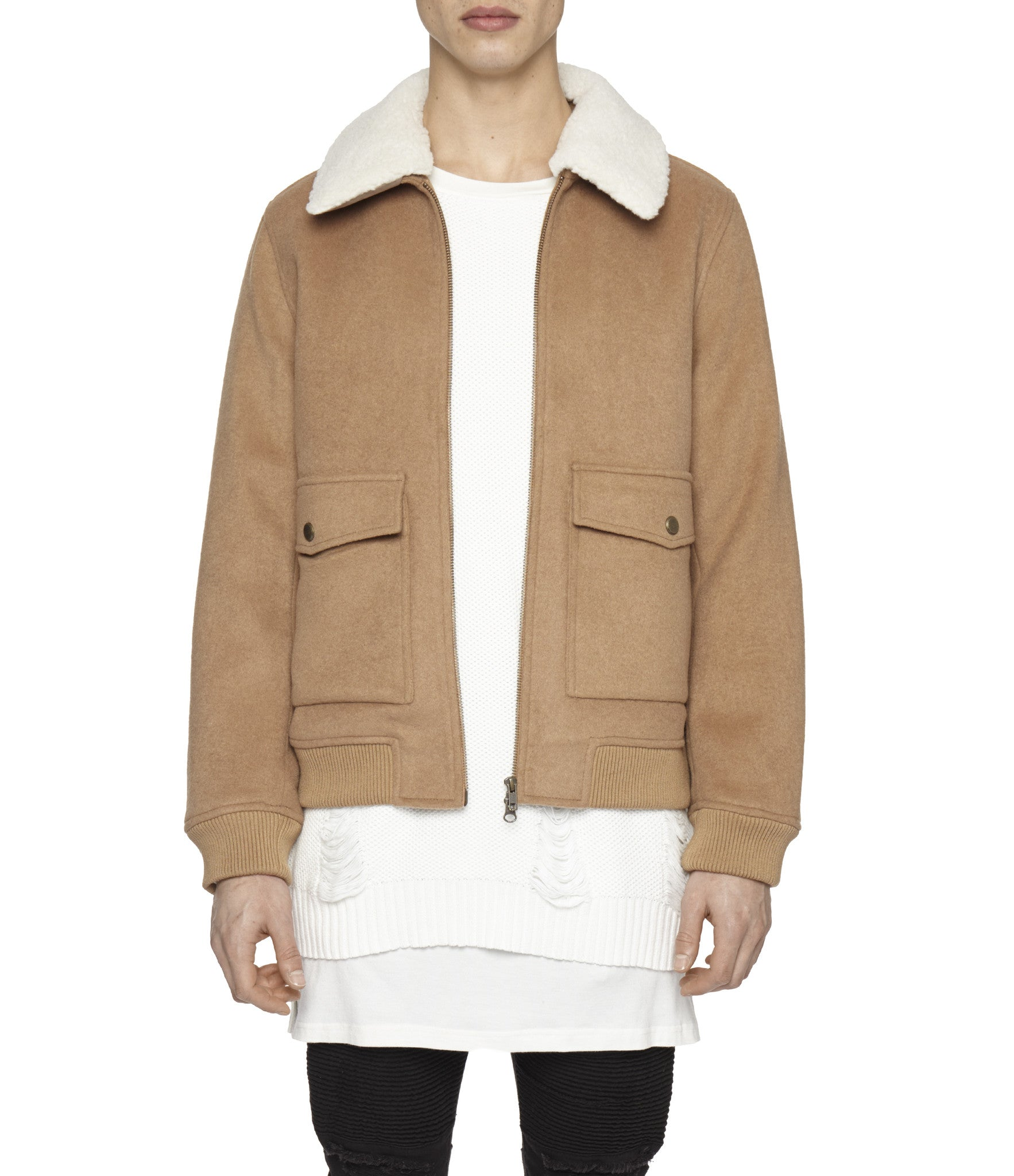 BM20 Shearling-Trimmed Wool Jacket - Camel - underated london - underatedco - 1