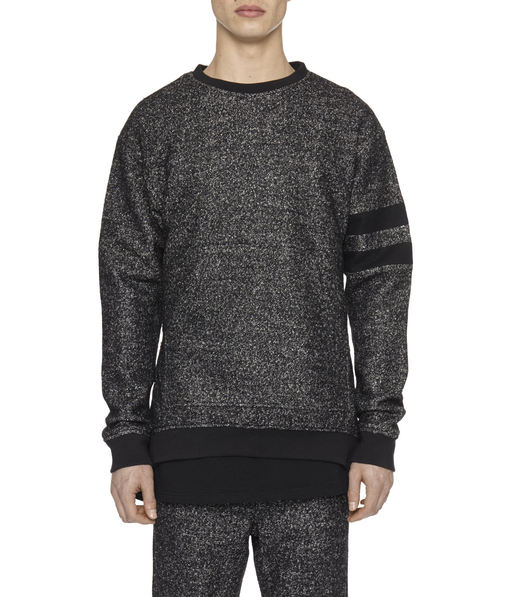 SW301 Oversized Mélange Wool Sweatshirt - Black - underated london - underatedco - 1