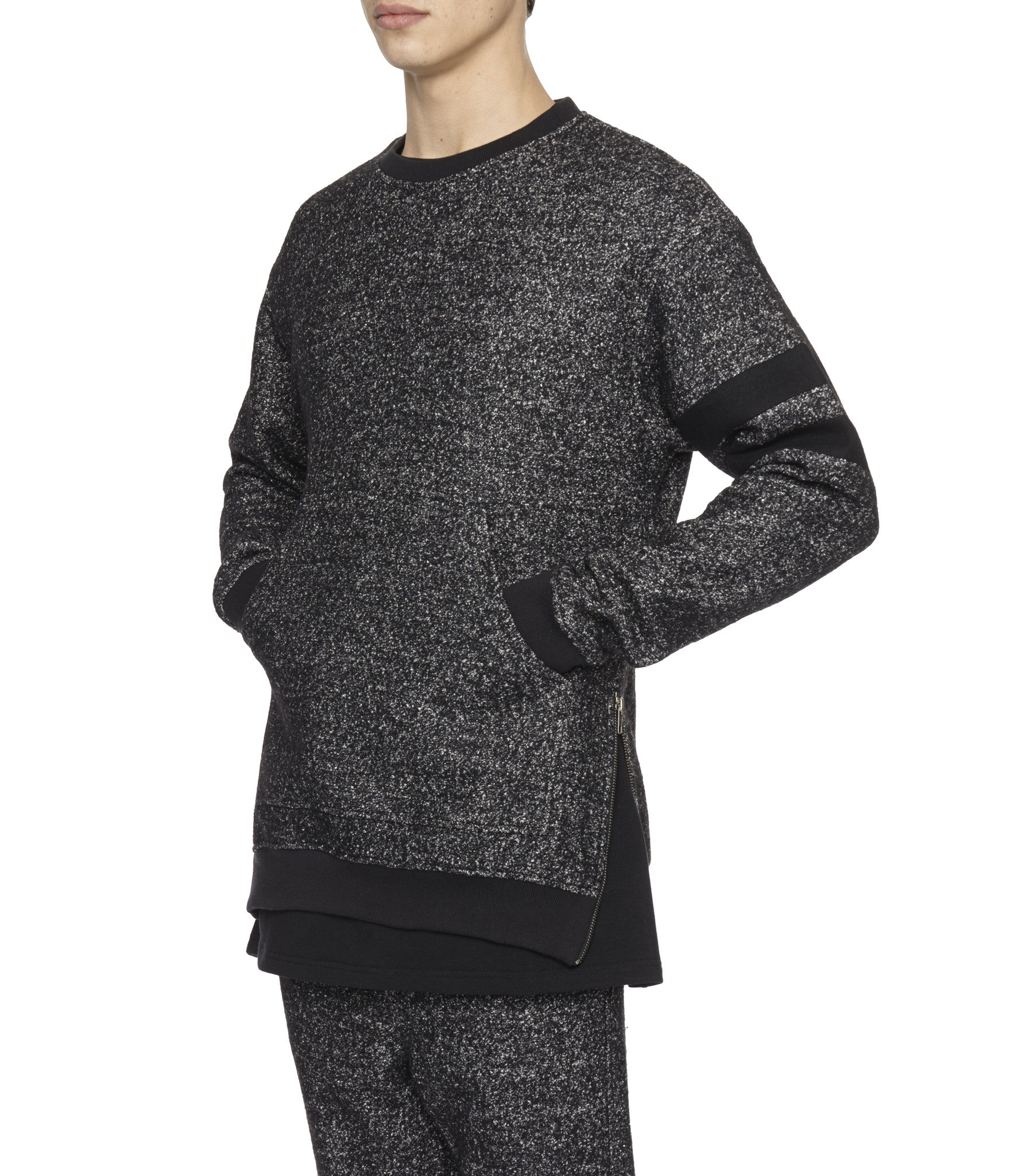 SW301 Oversized Mélange Wool Sweatshirt - Black - underated london - underatedco - 6