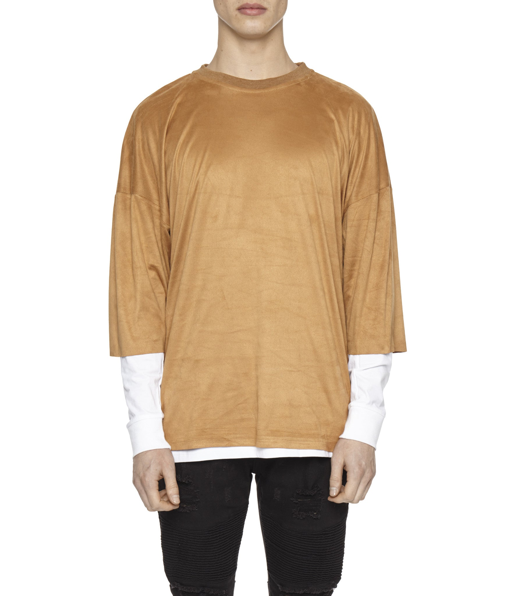 TS302 Suede Oversized Box Tee - Tan - underated london - underatedco - 3