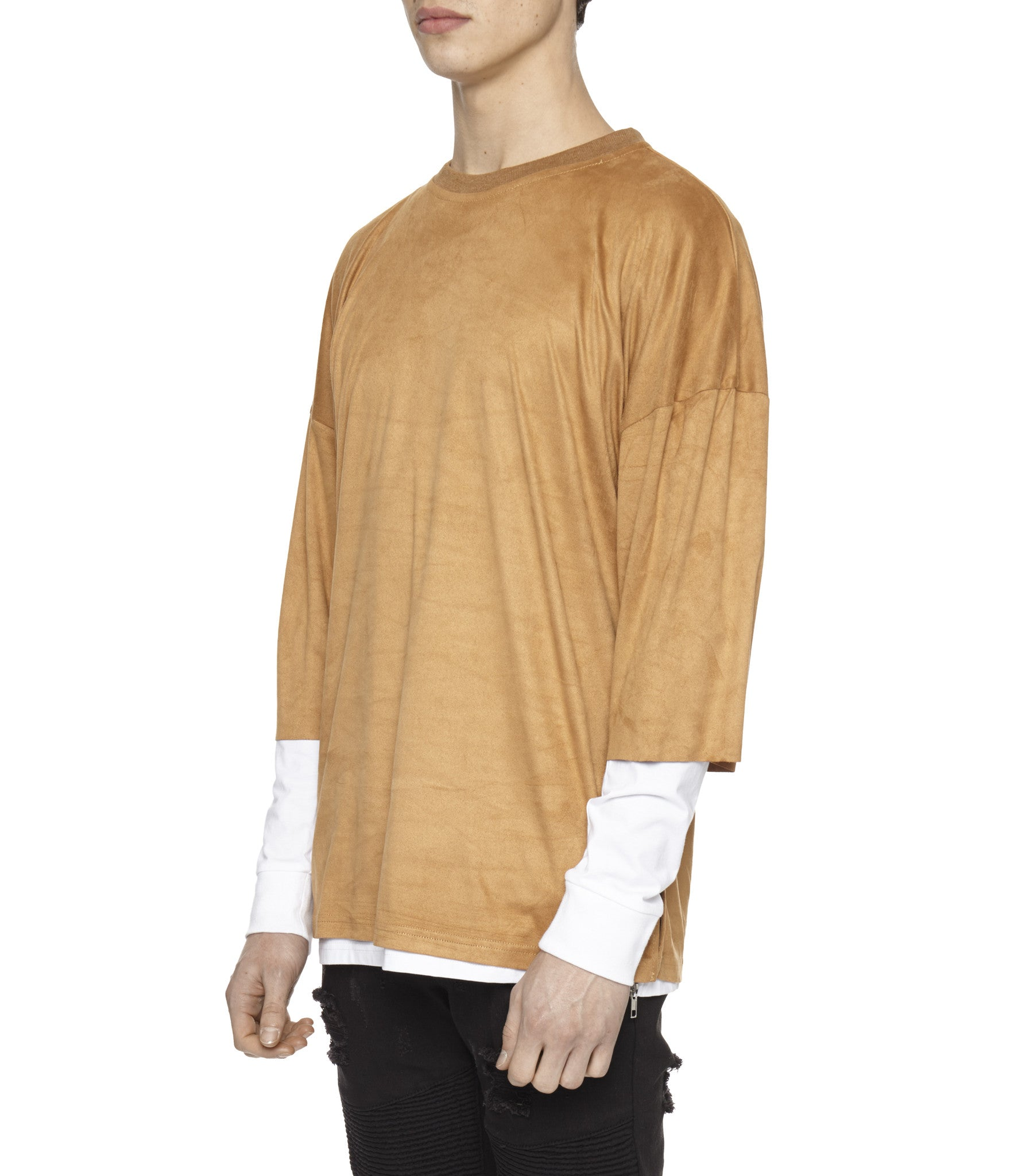 TS302 Suede Oversized Box Tee - Tan - underated london - underatedco - 4