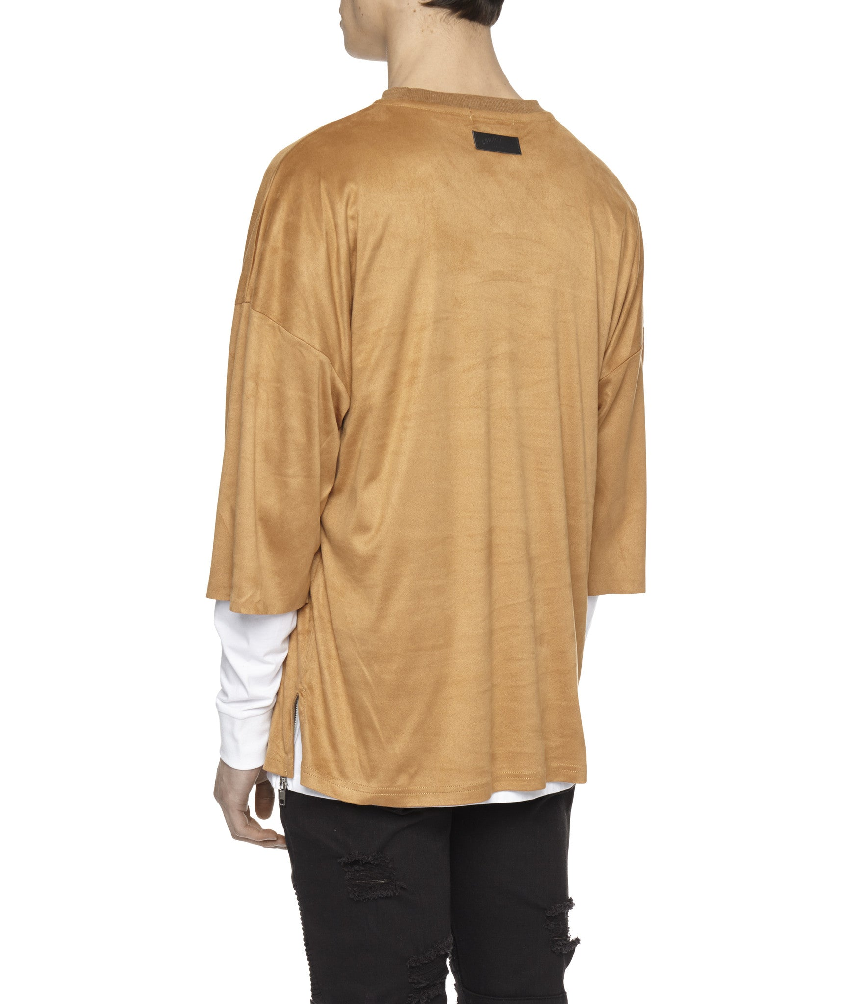 TS302 Suede Oversized Box Tee - Tan - underated london - underatedco - 5