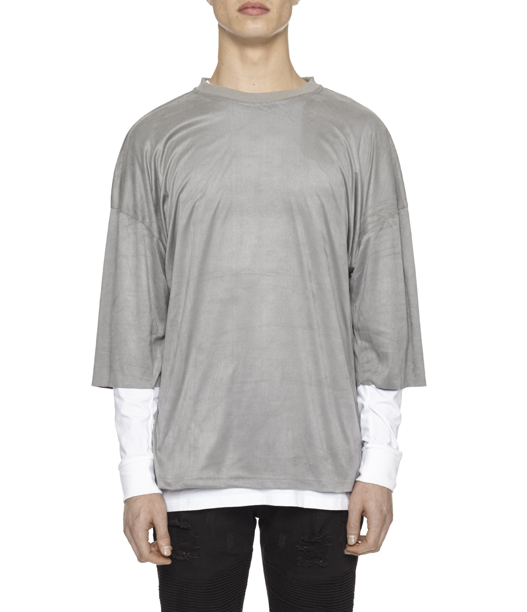 TS302 Suede Oversized Box Tee - Smokey Grey - underated london - underatedco - 1