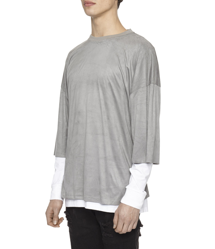TS302 Suede Oversized Box Tee - Smokey Grey - underated london - underatedco - 4