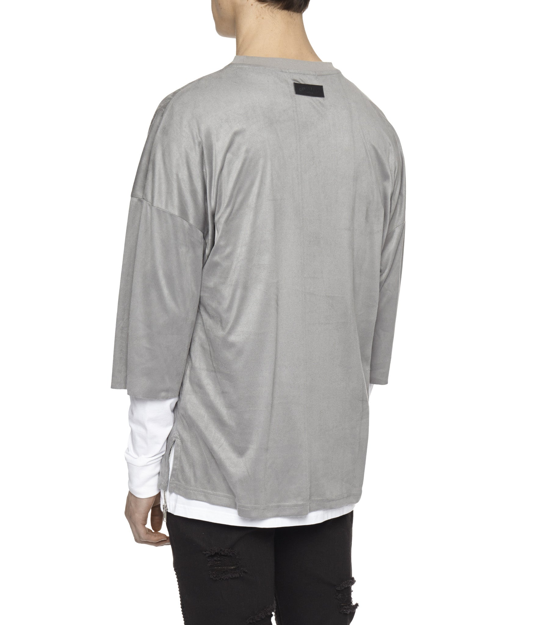 TS302 Suede Oversized Box Tee - Smokey Grey - underated london - underatedco - 5