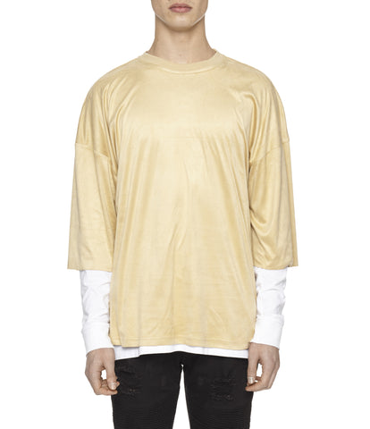 TS302 Suede Oversized Box Tee - Beige - underated london - underatedco - 1