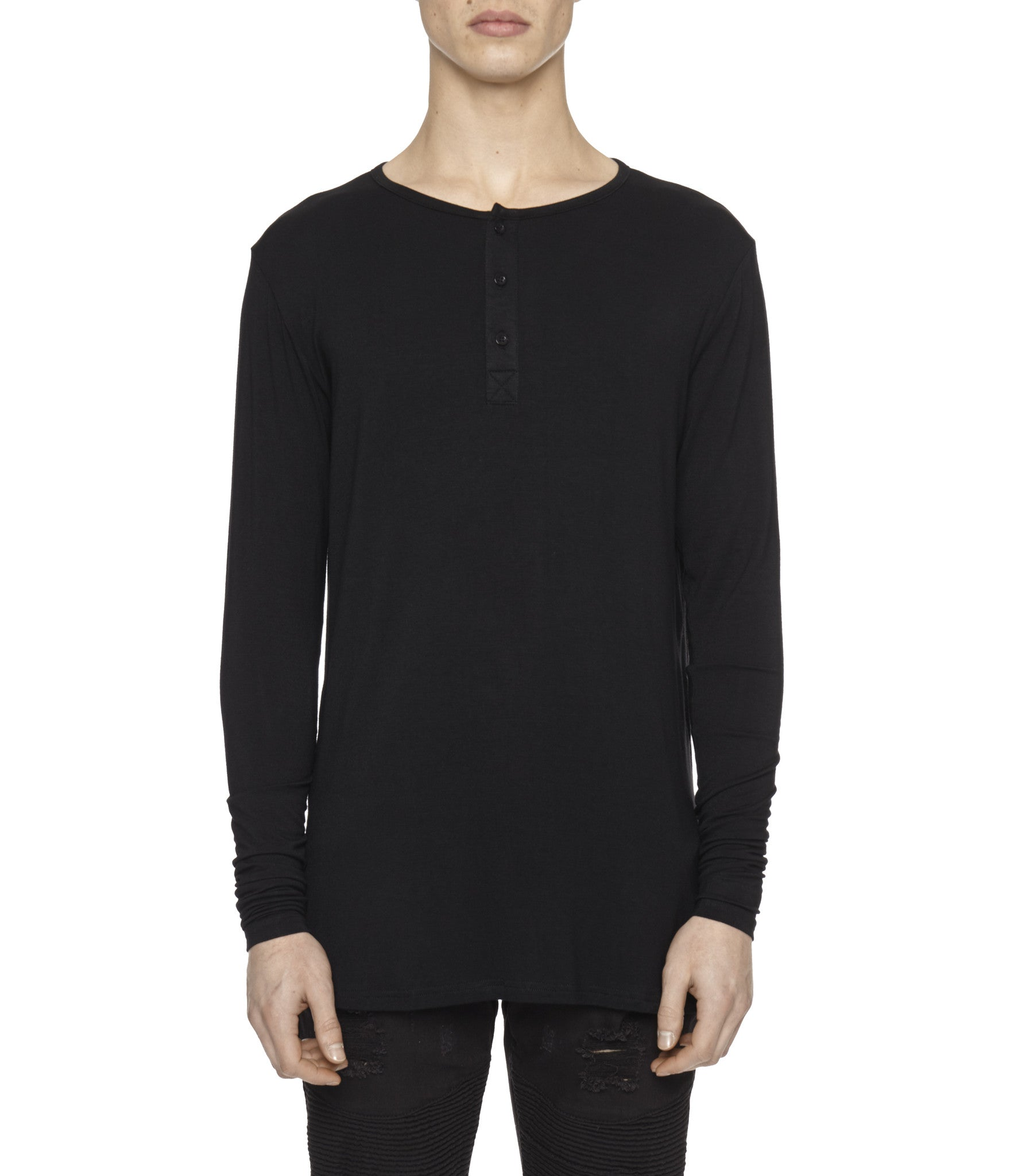 LS264 Under Layer Henley Tee - Black - underated london - underatedco - 3