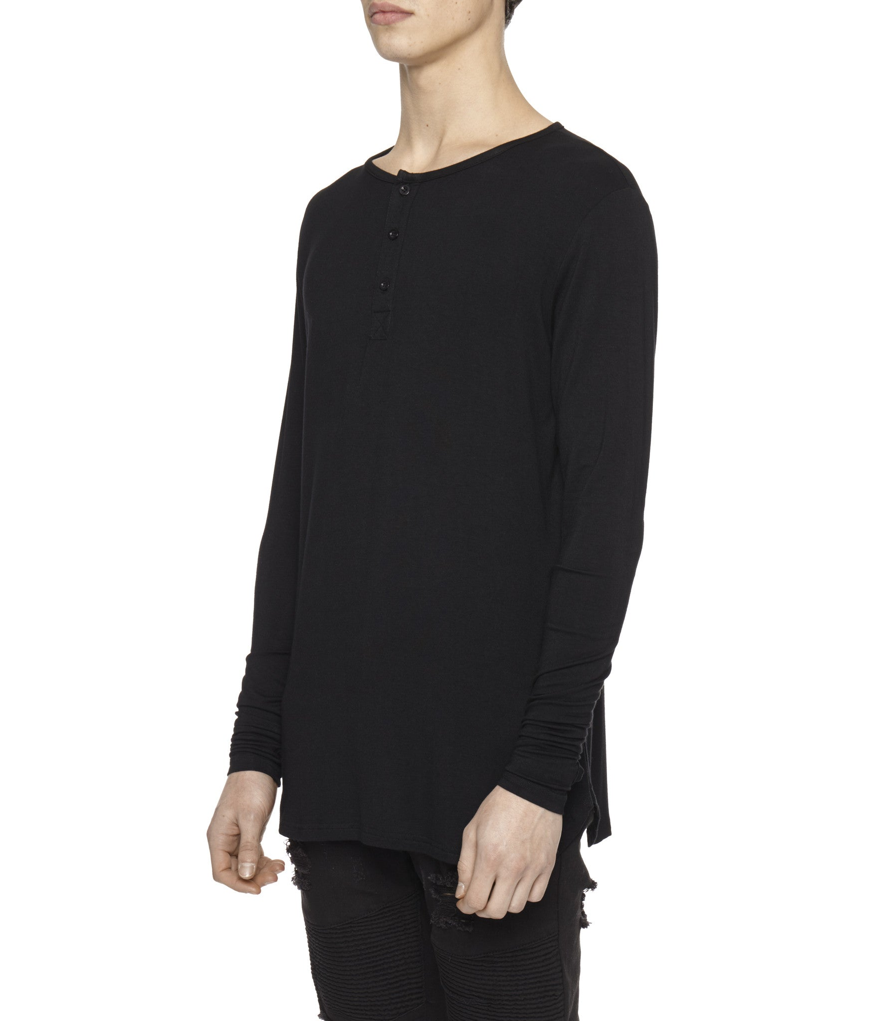 LS264 Under Layer Henley Tee - Black - underated london - underatedco - 4