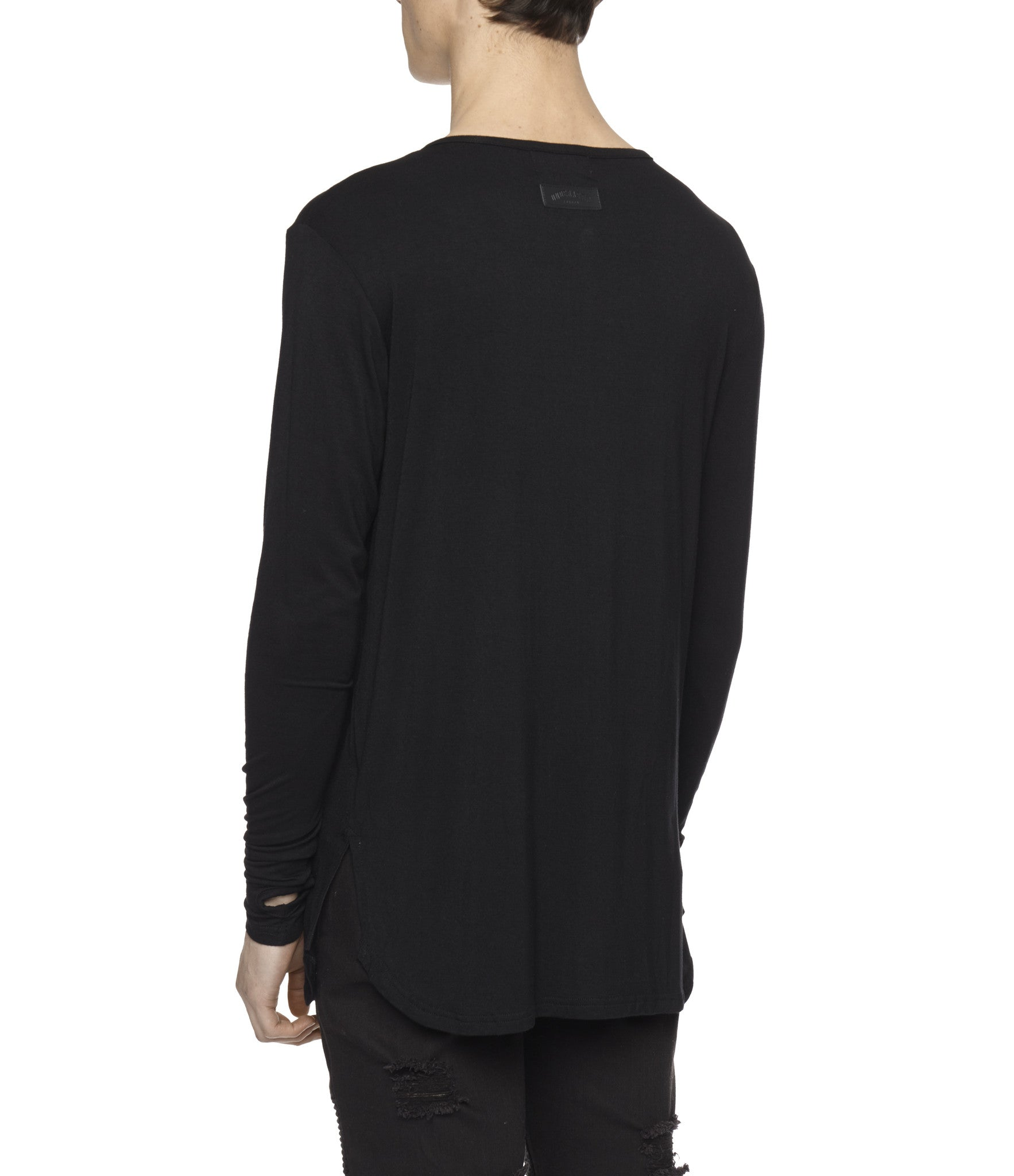 LS264 Under Layer Henley Tee - Black - underated london - underatedco - 5