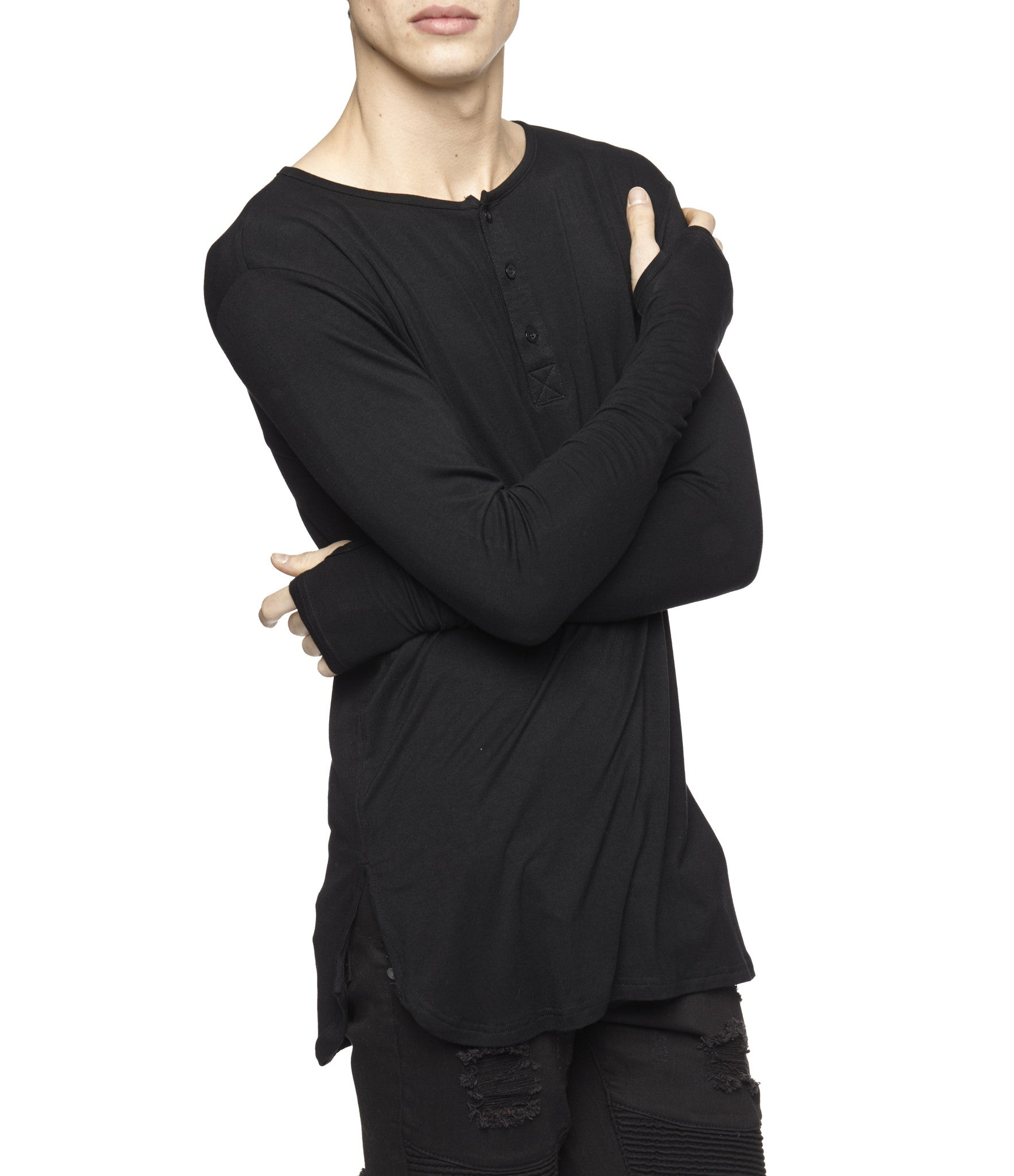 LS264 Under Layer Henley Tee - Black - underated london - underatedco - 6