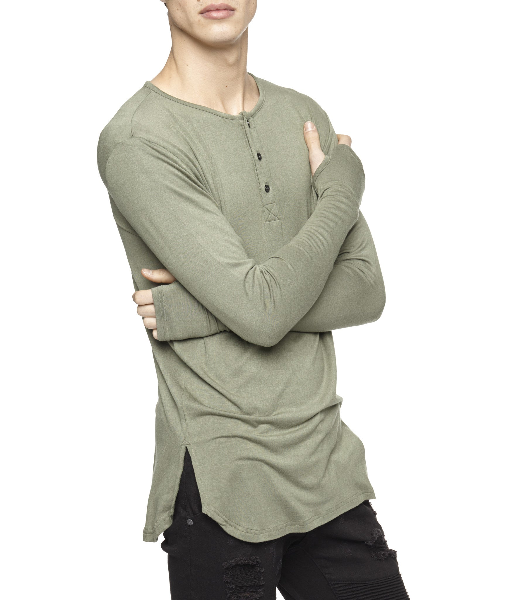 LS264 Under Layer Henley Tee - Khaki - underated london - underatedco - 6